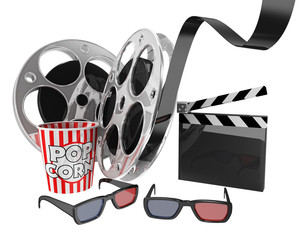 Cinema background popcorn and film reel