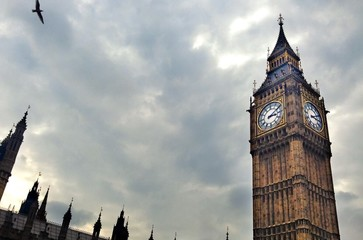 Big Ben London with cloudy sky