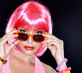 Beautiful Party Girl. Stylish Pink Hair.