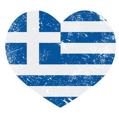 Greece heart love retro flag