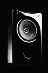 Audio speaker on a black background