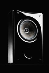 Audio speaker on a black background