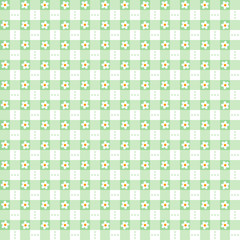 Seamless green floral gingham background