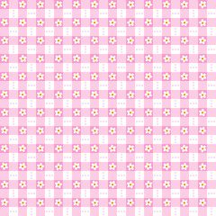 Seamless pink floral gingham background
