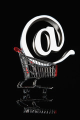 At symbol in a shopping cart