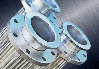 Stainless steel hoses with flanges.