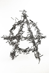 Anarchy sign made of iron nails