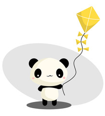 Panda Playing Kite