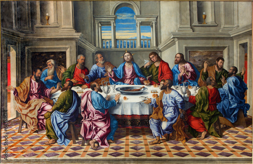 Plexiglas Venetie Venice - Last supper of Christ by Girolamo da Santacroce