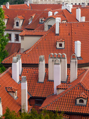Rooftop with chimneys