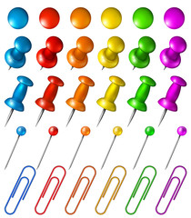 Set of multicolored pushpins, pins, paper clips