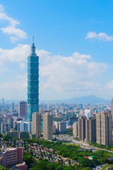 Cityscape of Taipei under the blue sky