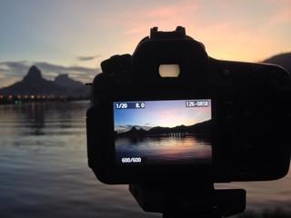 sunset camera lagoon backstage Rio de Janeiro