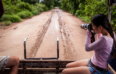 woman with camera on Safari ,Pantanal ,Brazil