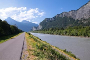 Bicycle path in Switzerland - Rhine river
