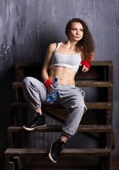 sporty  girl resting