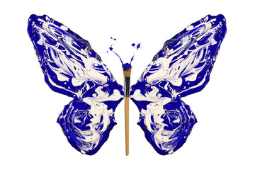Blue and white paint made butterfly