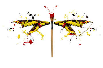 Black yellow red paint splash made dragonfly