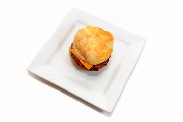 Top View of a Sausage and Cheese Sandwich