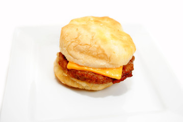 Biscuit Sandwich with Sausage and Cheese