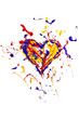 Colorful paint splash made heart