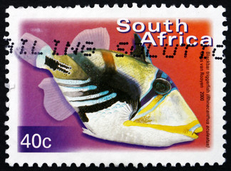 Postage stamp South Africa 2000 Blackbar Triggerfish, Fish