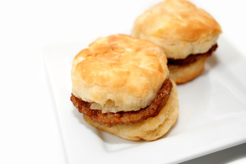 An Unhealthy Breakfast of Sausage Sandwiches