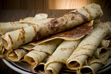 Sweet crepes with chocolate cream homemade product