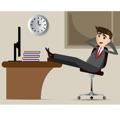 cartoon businessman relax on chair
