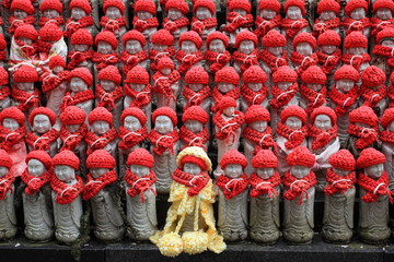 Little of Jizo statues at Hasedera temple in Nara, Japan