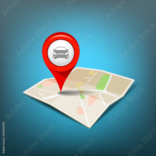 Map red pointer with my car design