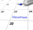 Vacation Calendar Shows Break Or Free From Work
