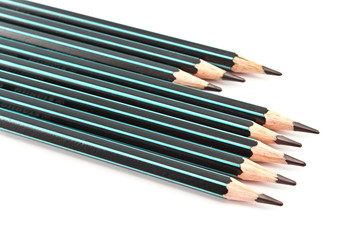 Black wooden pencils  on white