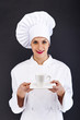 Woman chef, cook or baker portrait with caffe cup