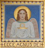 Vienna - Fresco of symbolic angel with the Eucharist