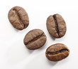 coffee beans on a white background with clipping path