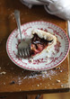 Fig and raspberry galette pie with icing sugar