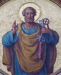 Vienna - Fresco of st. Peter the apostle in Carmelites church