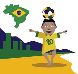 Kid control  soccer ball. Brazil beach. vector