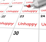Unhappy Calendar Means Miserable Troubled Or Dissatisfied poster
