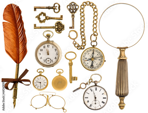 Foto op Canvas Retro antique accessories. antique keys, clock, loupe, compass