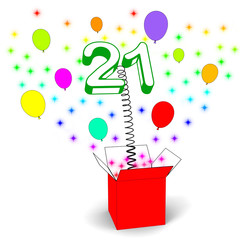 Number Twenty One Surprise Box Shows Birthday Celebration Or Par