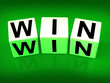 Win Blocks Indicate Success Triumphant and Winning