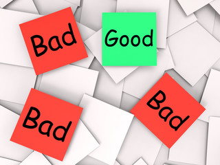 Good Bad Post-It Notes Show Excellent Or Dreadful