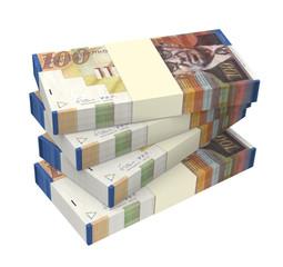Israeli Shekel money isolated on white background.