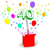 Number Forty Surprise Box Means Unexpected Celebration Or Party poster
