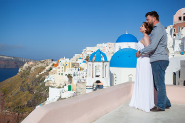 Groom and bride on santorini