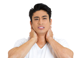 Stressed young man, worker having bad neck pain
