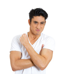 Portrait of pissed off angry, upset young man white background