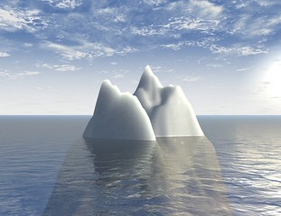 iceberg 3d illustration background with sea and blue sky